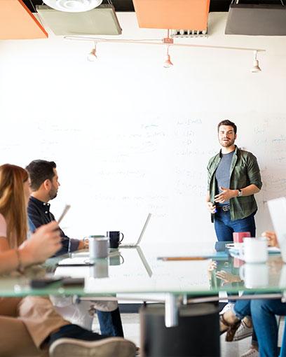 Creative person delivers a presentation
